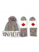 Winter Hat & Mitten Set Multi Color